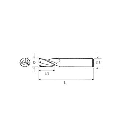 FRESA IN METALLO DURO INTEGRALE RIV. TIAIN - Z3 (2163)