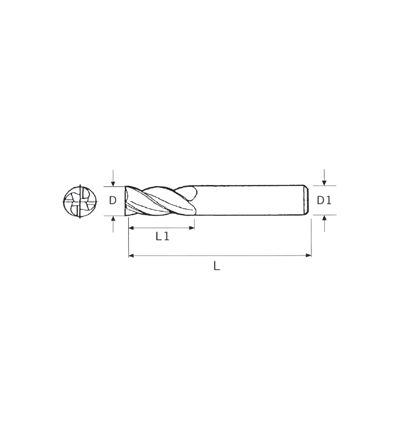 FRESA METALLO DURO INTEGRALE RIV. TIAIN - Z4 (2164)